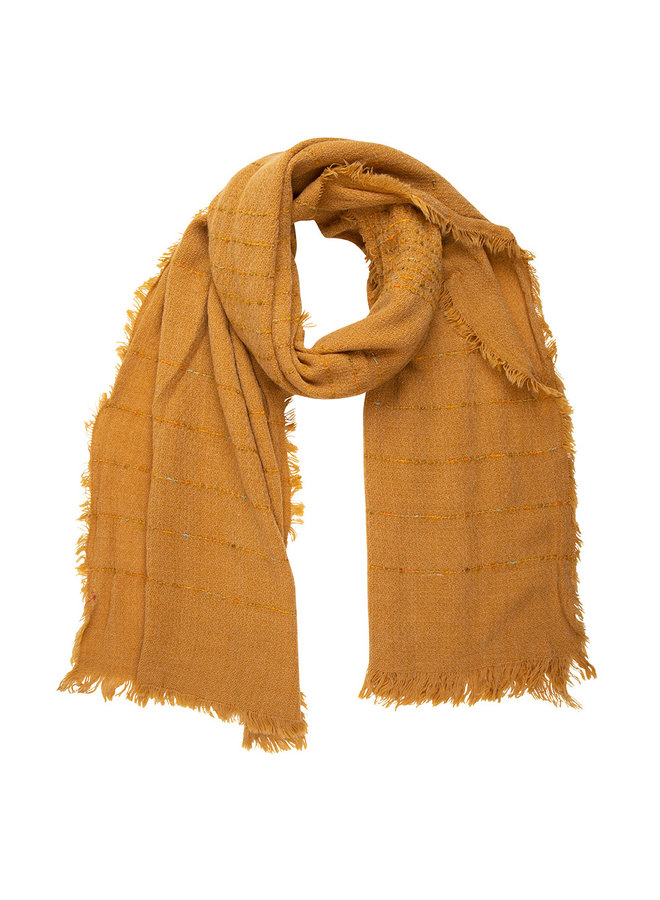Ocher scarf, stripe with Cashmere touch