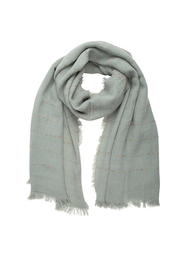 Sjaal mint, streep with Cashmere touch