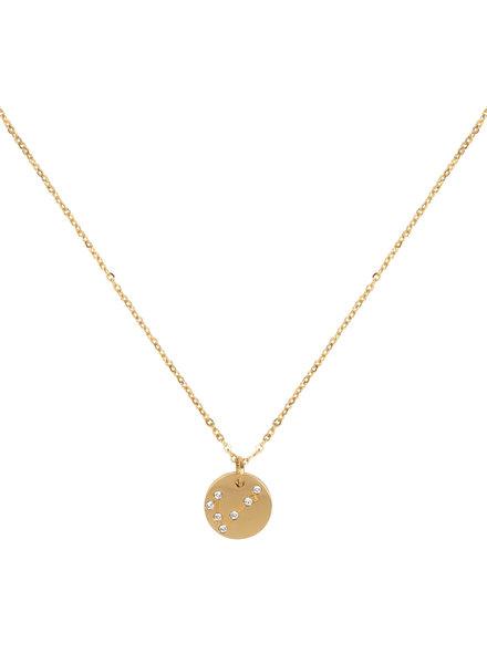 Jozemiek ® Halskette Sternbild Fische (  aus Edelstahl mit 18 Karat Gold überzogen)
