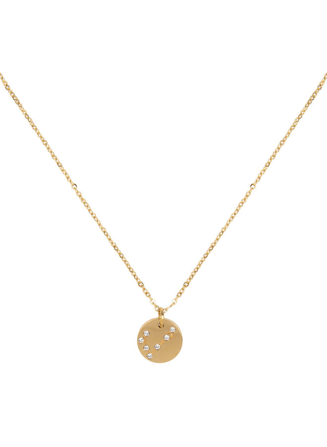 Jozemiek Pisces zodiac pendant  necklace, stainless steel plated with 18k gold with gift card and envelope.