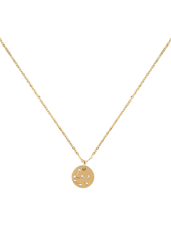 Jozemiek Aquarius zodiac pendant  necklace, stainless steel plated with 18k gold with gift card and envelope.