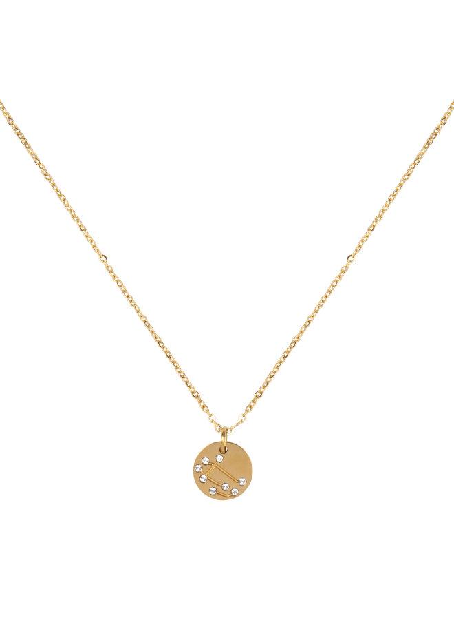 Jozemiek Zwillinge Halskette, Edelstahl vergoldet mit 18 Karat Gold mit Geschenkkarte und Umschlag.