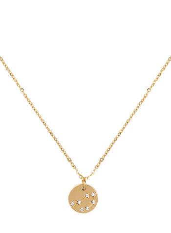 Jozemiek ® Waage Sternzeichen Halskette (Edelstahl vergoldet mit 18 Karat Gold)