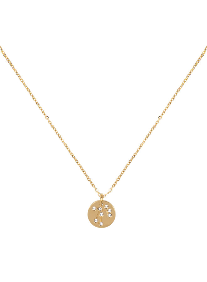 Jozemiek Sagittarius  zodiac pendant  necklace, stainless steel plated with 18k gold with gift card and envelope.