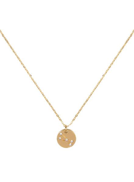 Jozemiek ® Stier Sterrenbeeld ketting (stainless-steel  verguld met 18k goud )
