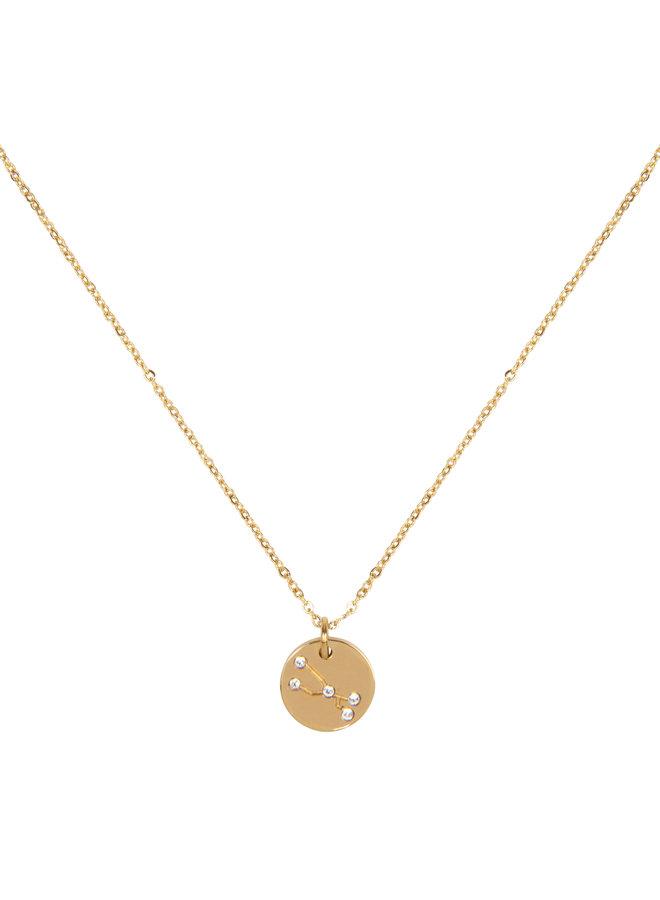 Halskette Sternbild Stier  (  aus Edelstahl mit 18 Karat Gold überzogen)