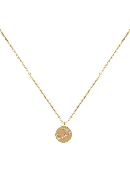 Jozemiek ® Halskette Sternbild Jungfrau (  aus Edelstahl mit 18 Karat Gold überzogen)