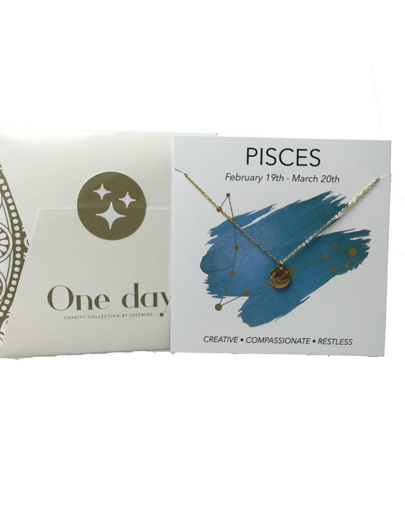 Jozemiek ® Jozemiek Pisces zodiac pendant  necklace, stainless steel plated with 18k gold with gift card and envelope.