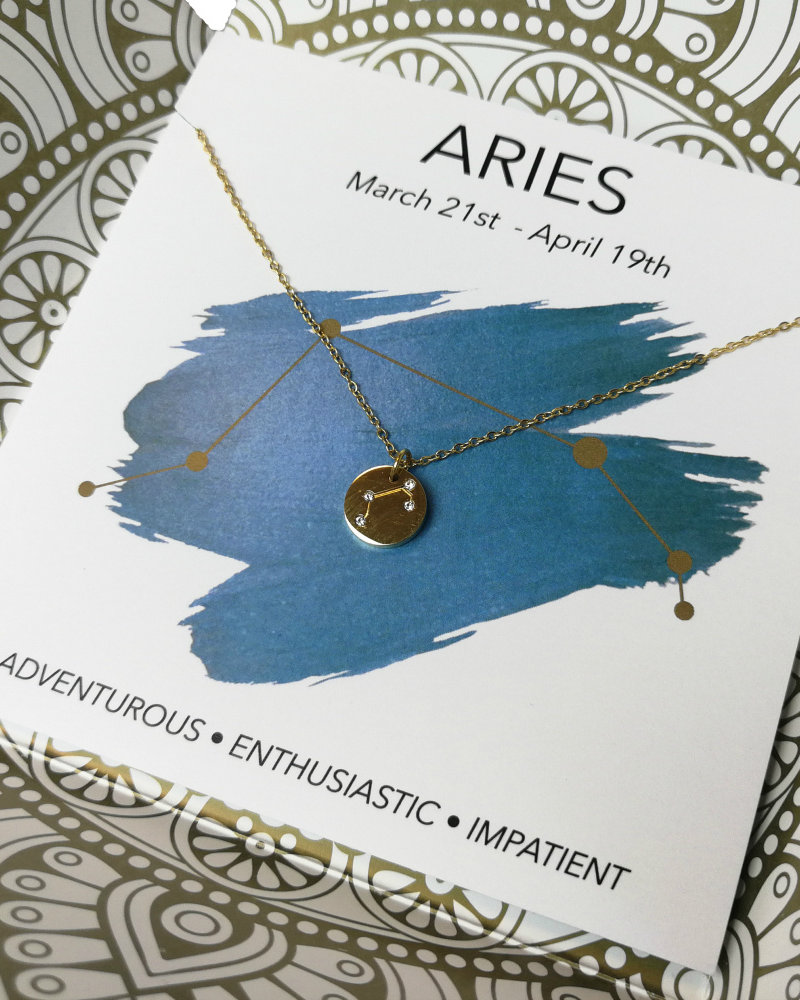 Jozemiek ® Jozemiek  Aries zodiac pendant  necklace, stainless steel plated with 18k gold with gift card and envelope.