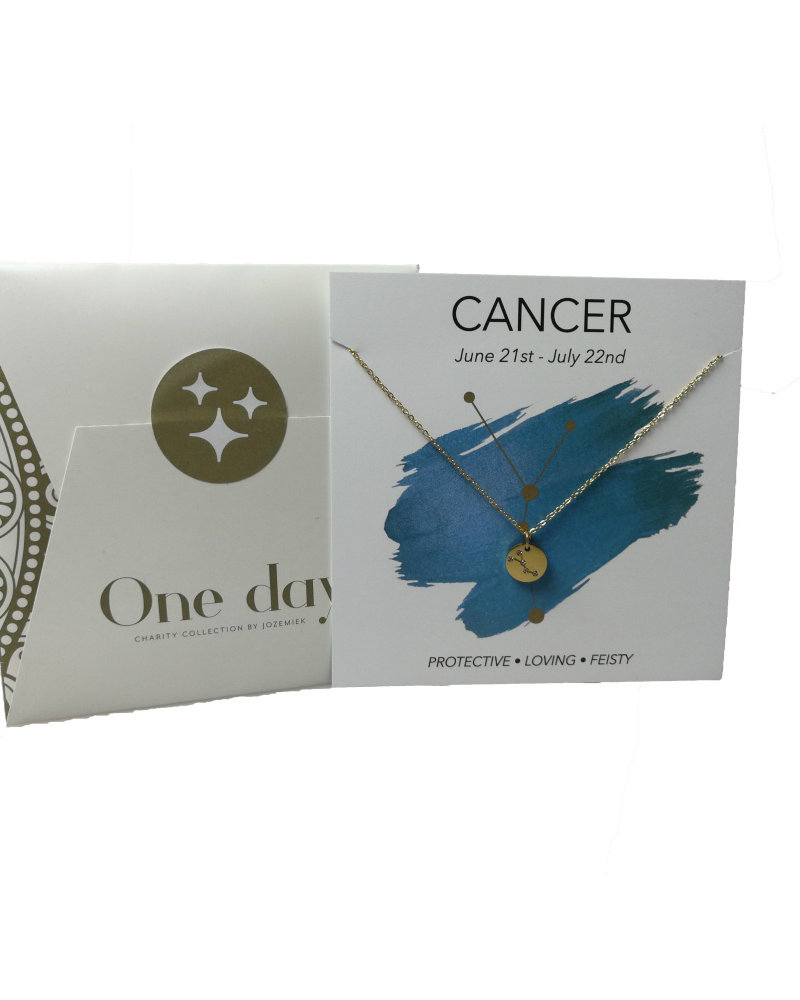 Jozemiek ® Jozemiek Cancer zodiac pendant  necklace, stainless steel plated with 18k gold with gift card and envelope.