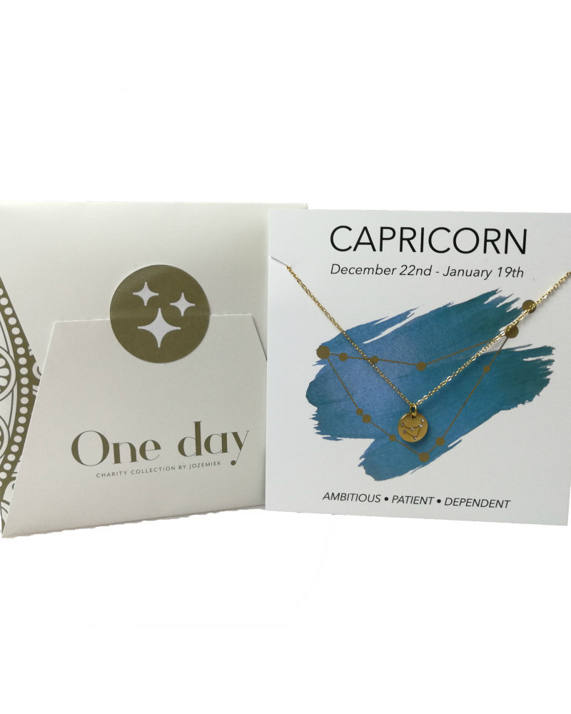 Jozemiek ® Jozemiek Capricorn zodiac pendant  necklace, stainless steel plated with 18k gold with gift card and envelope.
