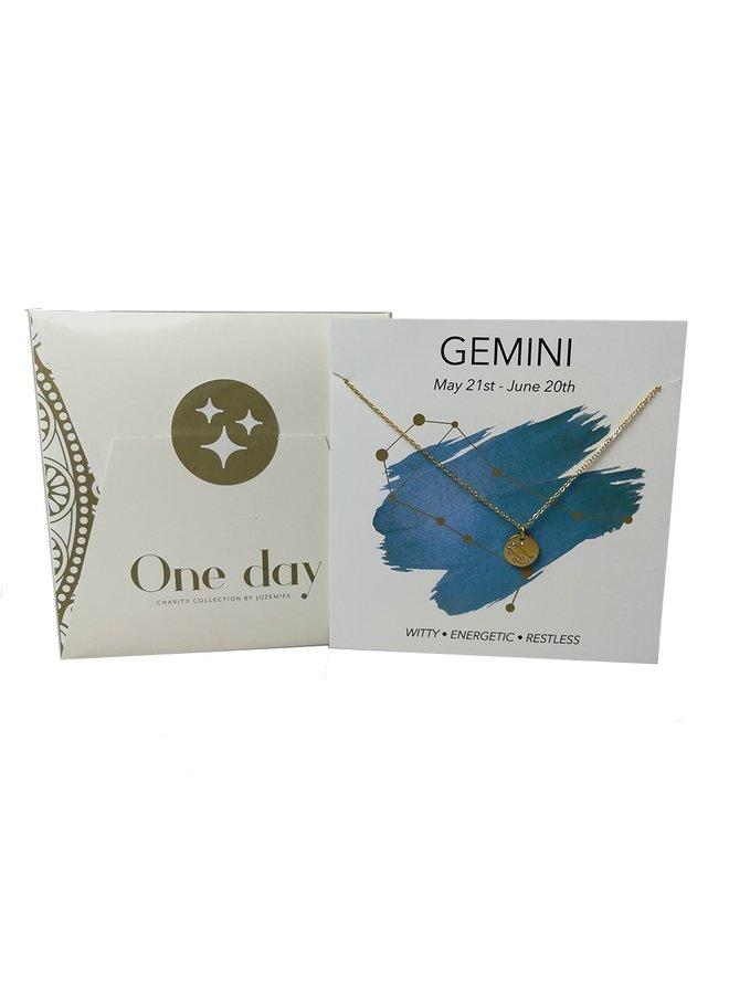 Jozemiek Gemini   zodiac pendant  necklace, stainless steel plated with 18k gold with gift card and envelope.