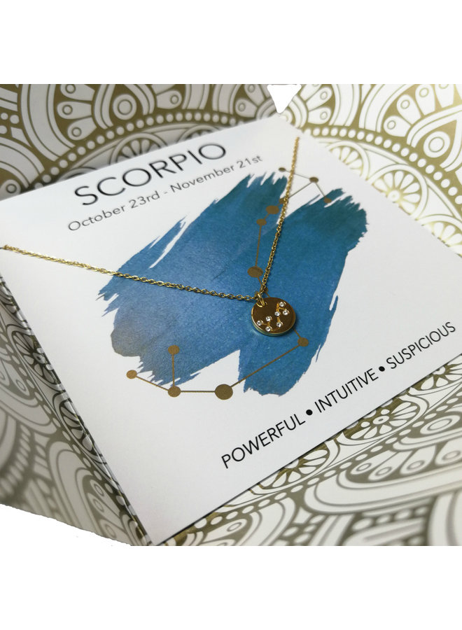 Jozemiek Scorpio zodiac pendant  necklace, stainless steel plated with 18k gold with gift card and envelope.