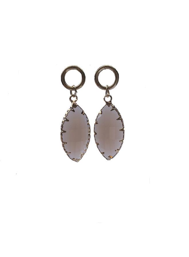 Earring Oval Crystal Taupe