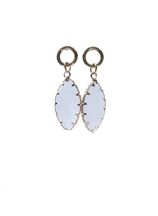 Earring Oval Crystal Transparent
