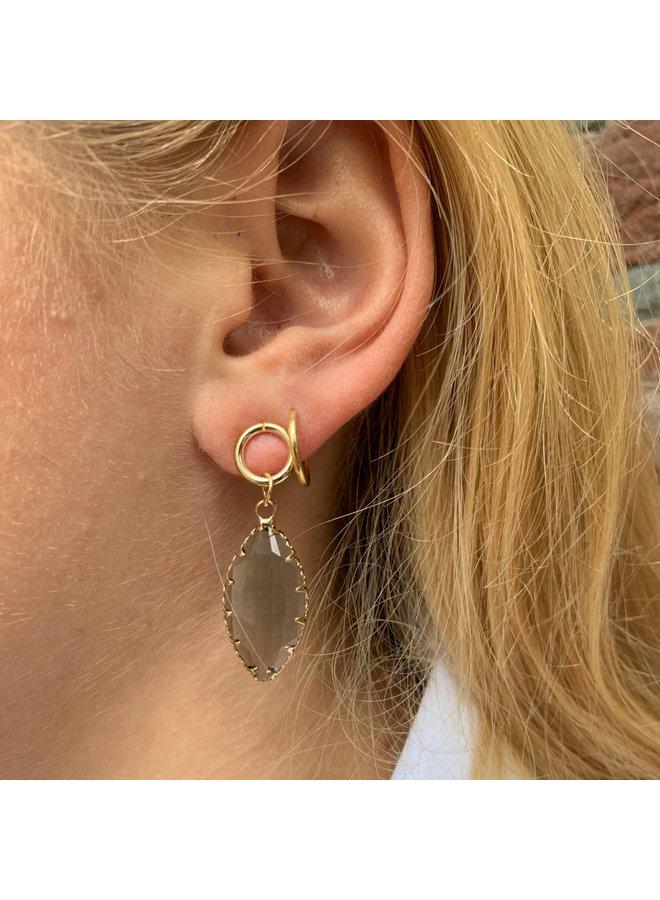 Earring Oval Crystal Blue