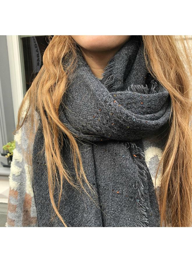 Black scarf, Cashmere touch stripe