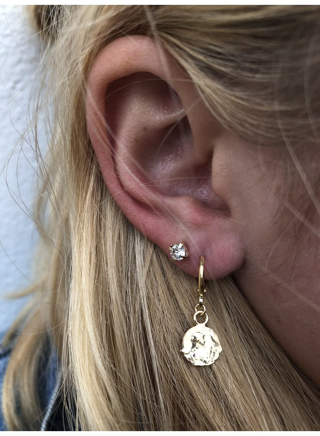 VINTAGE stone Stud earring silver or gold