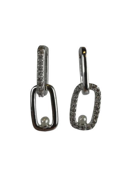 Jozemiek ® silver earring with rhinestones