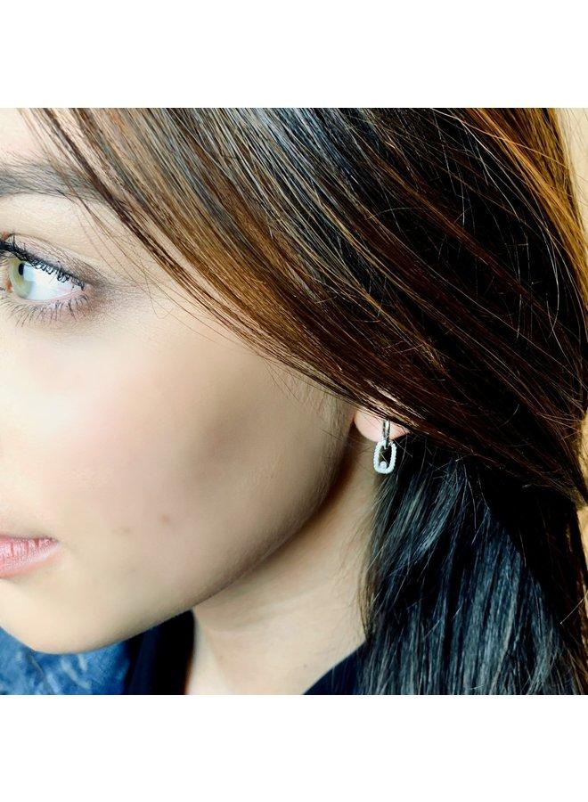 Jozemiek earring silver with rhinestones