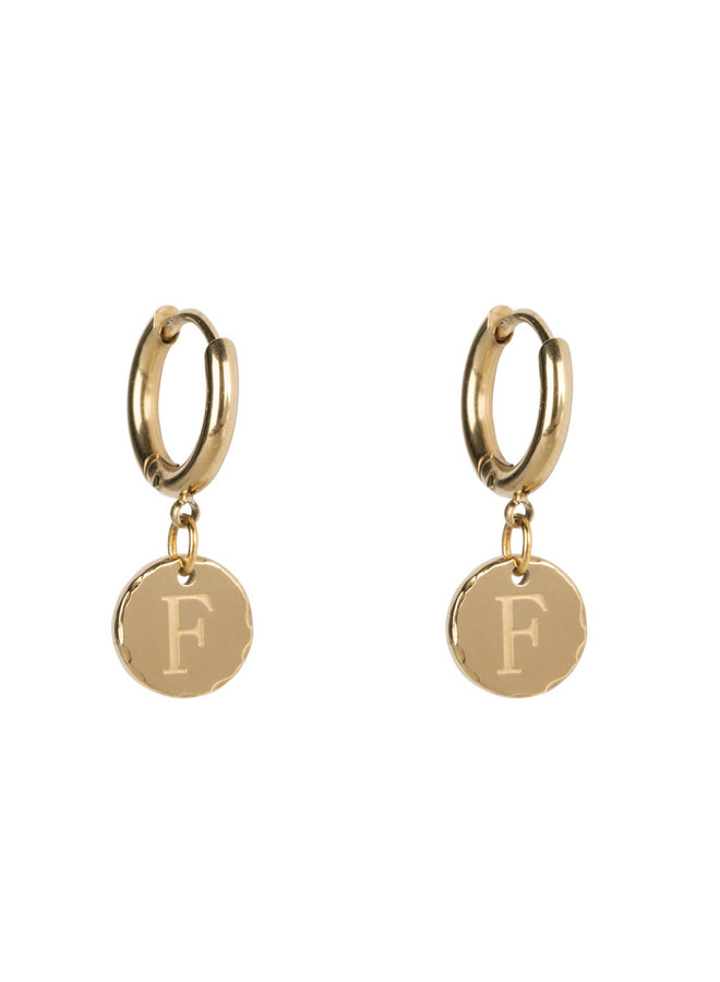 Earring Small with letter stainless steel 14kgold plating