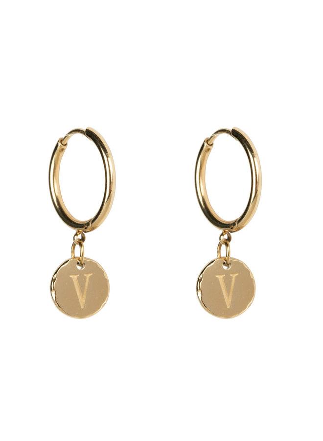 Earring medium with letter stainless steel 14k gold plating