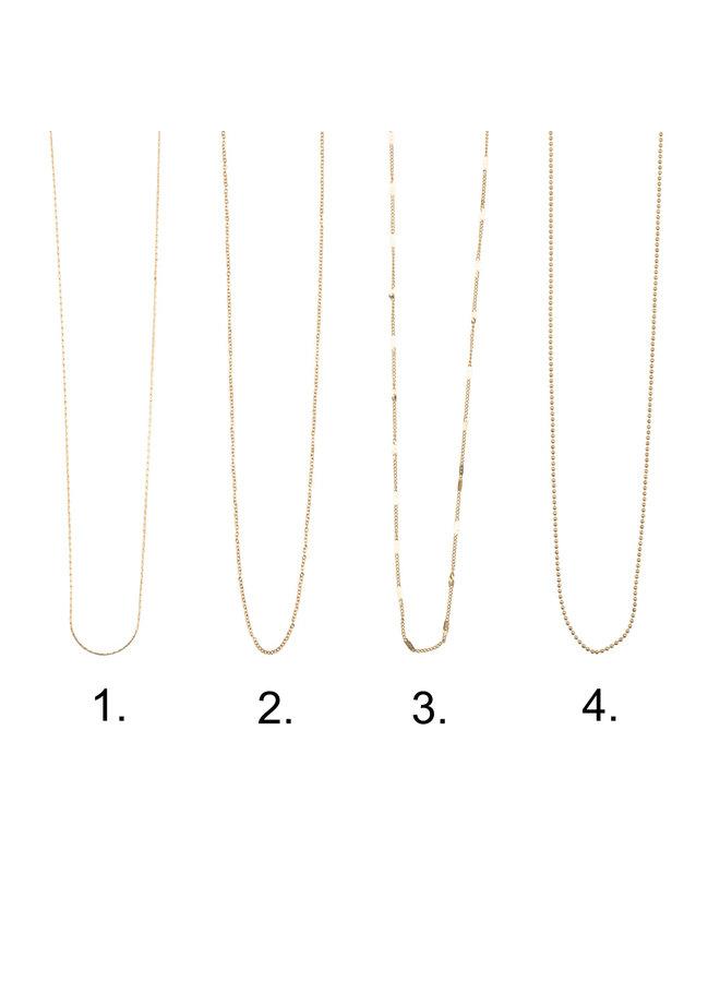 Jozemiek Halskette mit Buchstabe I Edelstahl, 14 Karat Vergoldung mit freiem Monatsstein