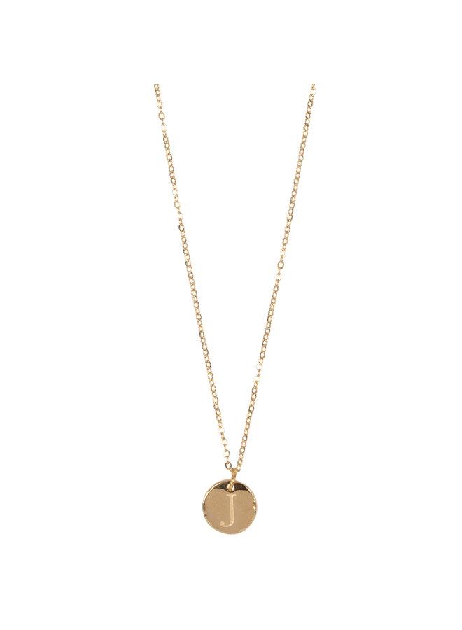 Jozemiek ketting met letter J stainless steel, 14k goud plating met gratis maandsteen