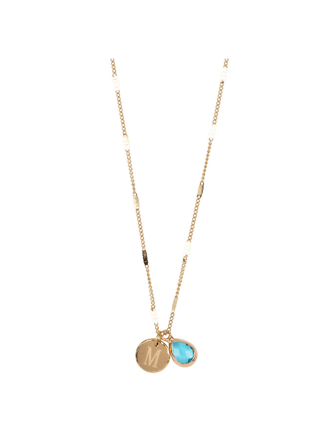 Necklace with letter M stainless steel, 14k gold plating with free moonstone
