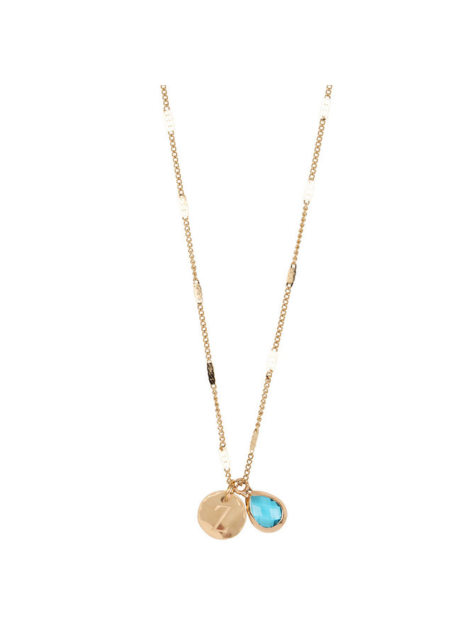 Necklace with letter Z stainless steel, 14k gold plating with free moonstone