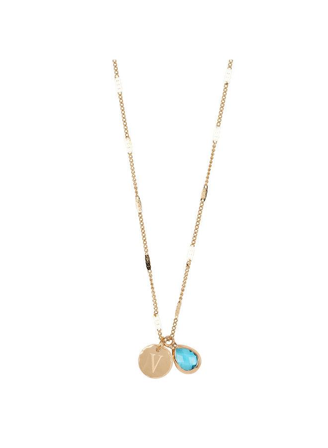 Halskette mit Edelstahl Buchstabe V, 14 Karat Vergoldung mit freiem Mondstein