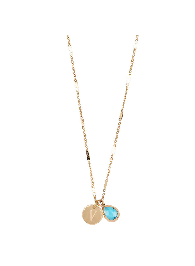 Necklace with letter V stainless steel, 14k gold plating with free moonstone