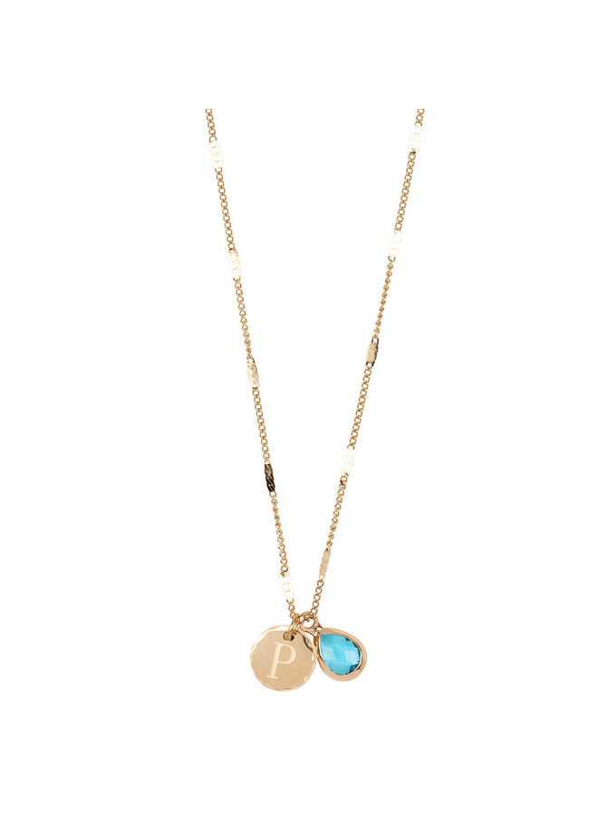 Necklace with letter P stainless steel, 14k gold plating with free moonstone