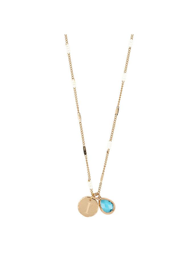 Halskette mit Edelstahl Buchstabe I, 14 Karat Vergoldung mit freiem Mondstein
