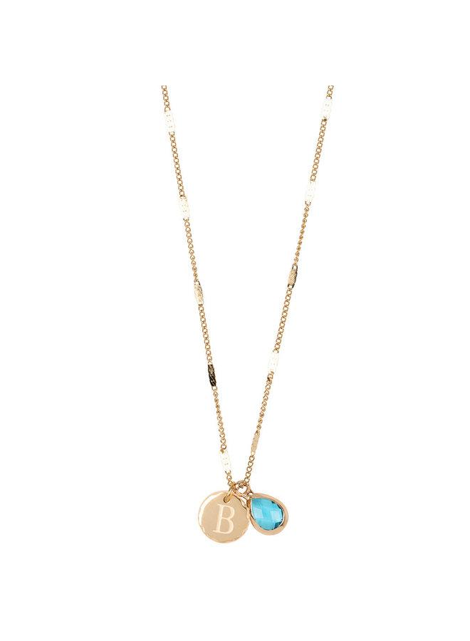 Halskette mit Edelstahl Buchstabe B, 14 Karat Vergoldung mit freiem Mondstein