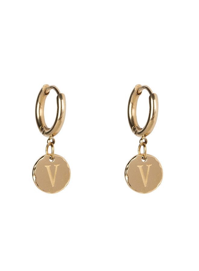 Jozemiek Earring with initial stainless steel 14kgold plating small