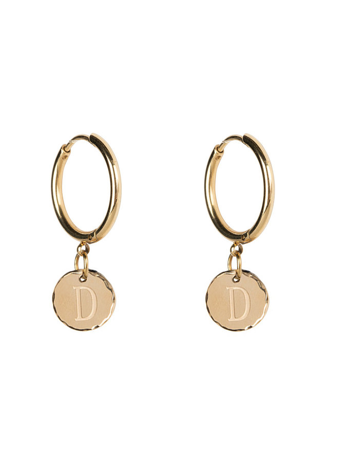 Jozemiek Earring with initial stainless steel 14k gold plating medium