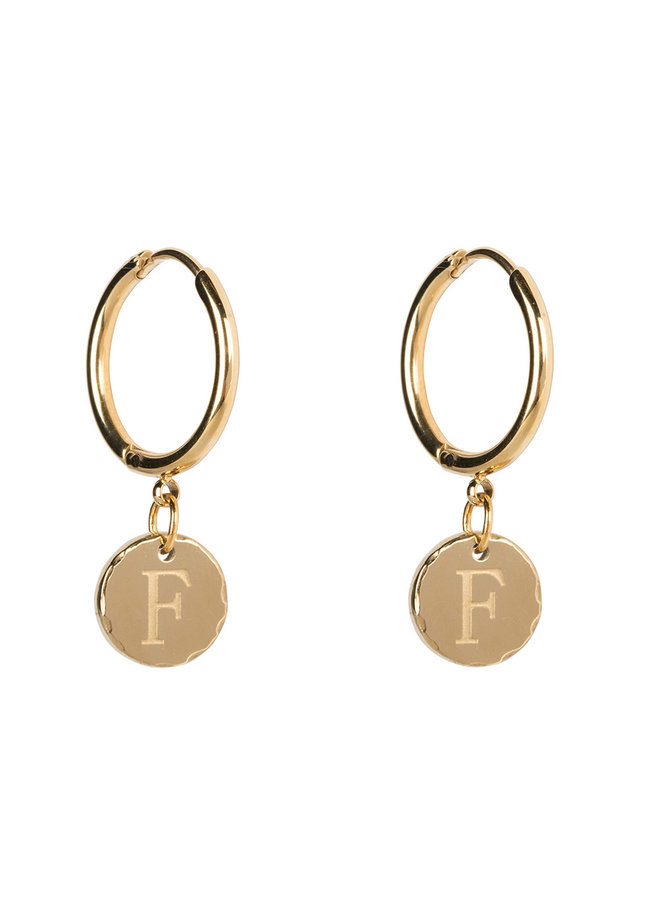 Jozemiek Earring with letter stainless steel 14k gold plating Large