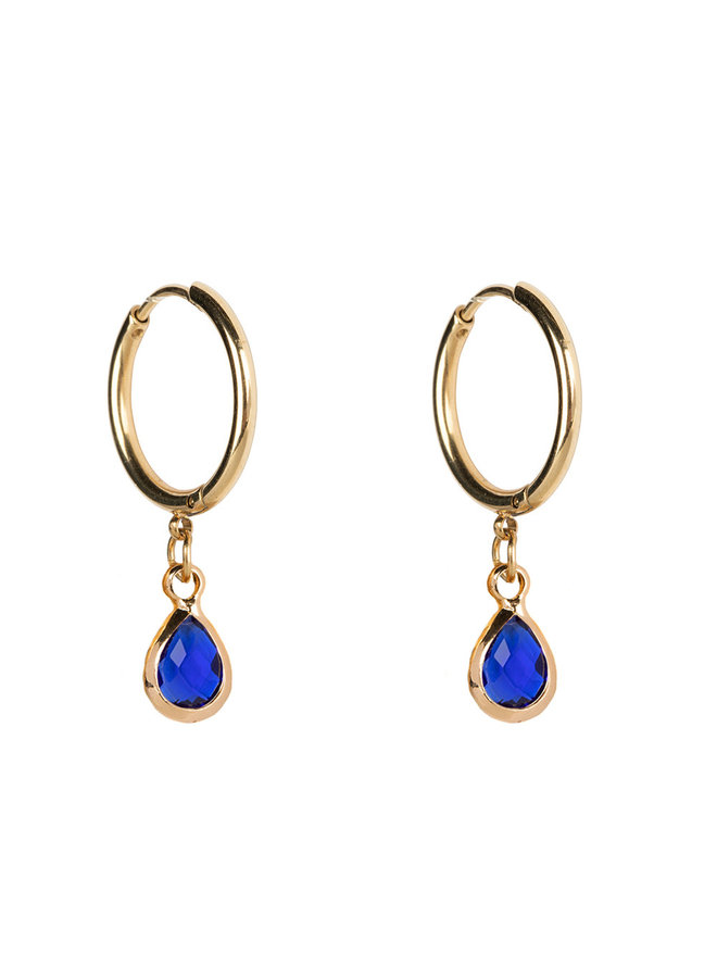 Jozemiek Earring Medium stainless steel 14k gold with glass stone