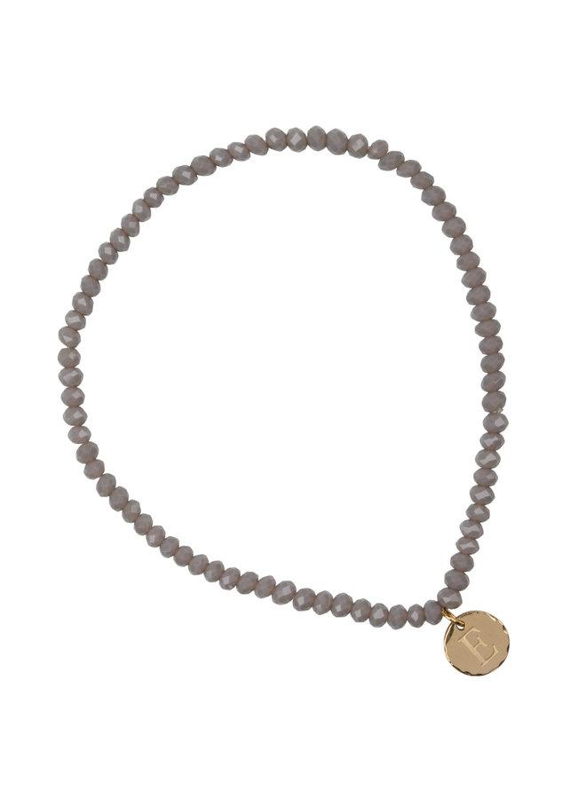 Glaskralen armband met letter stainless steel, 14k goud plating