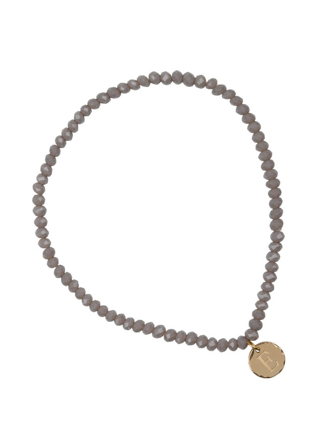 Glass bead bracelet with letter stainless steel, 14k gold plating