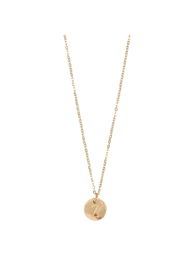 Jozemiek necklace with letter Z stainless steel, 14k gold plating with free month stone