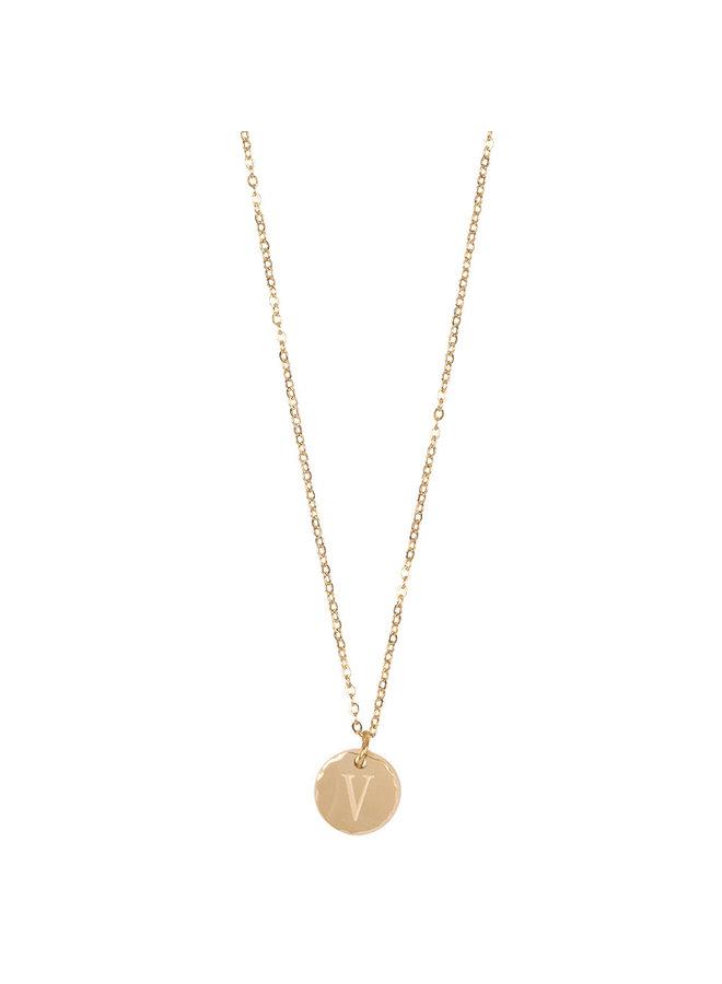 Jozemiek Halskette mit Edelstahl Buchstabe V, 14 Karat Vergoldung mit freiem Monatsstein
