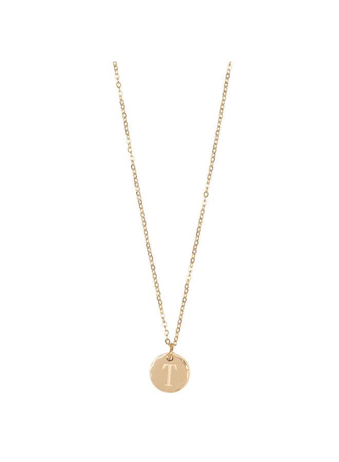 Jozemiek Halskette mit Edelstahl Buchstabe T, 14 Karat Vergoldung mit freiem Monatsstein