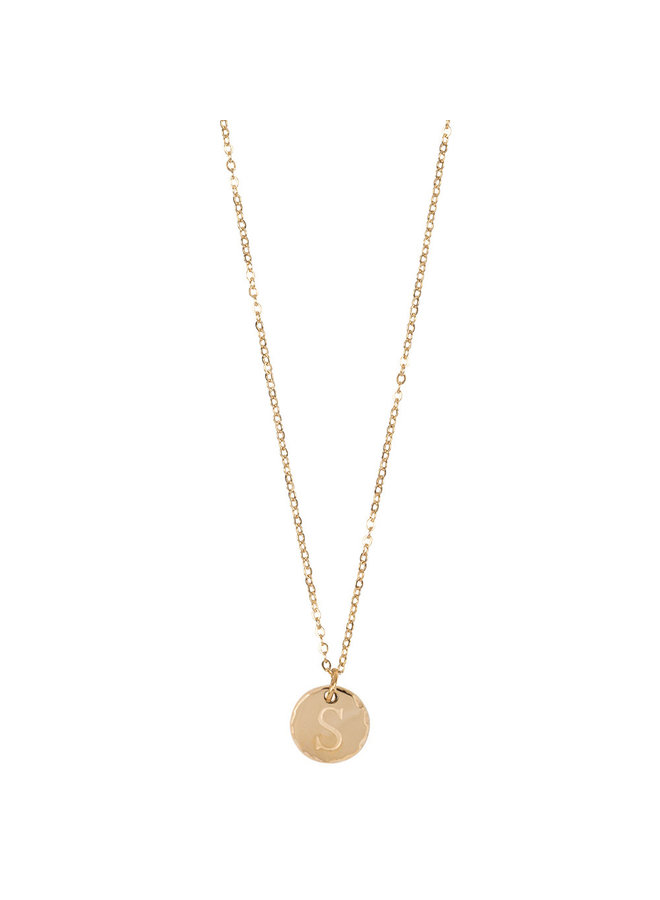 Jozemiek Halskette mit Edelstahl Buchstabe S, 14 Karat Vergoldung mit freiem Monatsstein