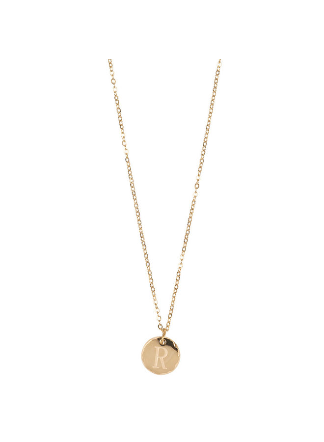 Jozemiek necklace with letter R stainless steel, 14k gold plating with free month stone