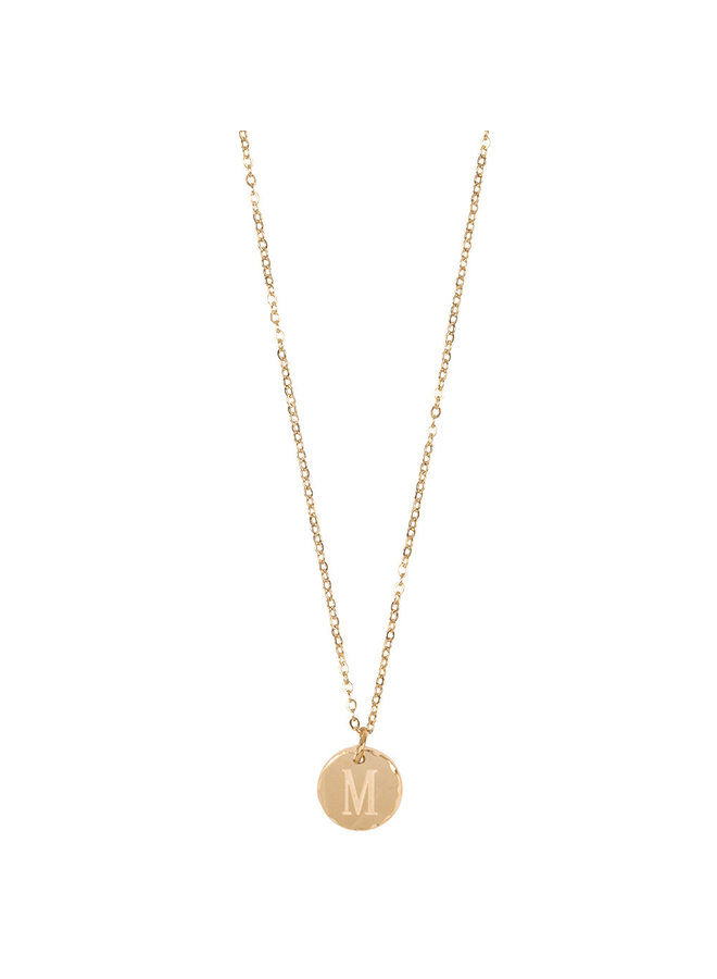 Jozemiek necklace with letter M stainless steel, 14k gold plating with free month stone