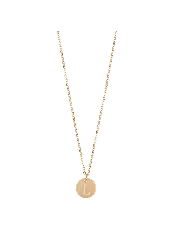 Jozemiek necklace with letter L stainless steel, 14k gold plating with free month stone