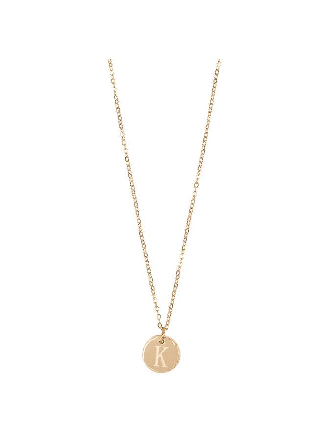 Jozemiek Halskette mit Edelstahl Buchstabe K, 14 Karat Vergoldung mit freiem Monatsstein