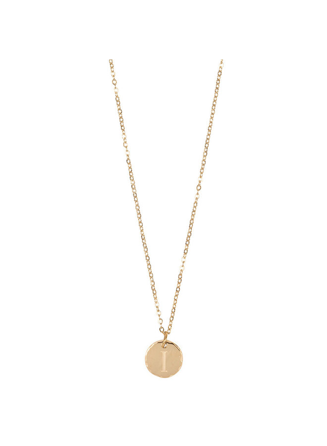 Jozemiek necklace with letter I stainless steel, 14k gold plating with free month stone